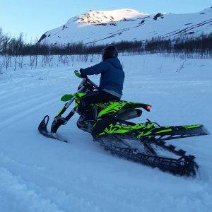 Første testrunde med snowbiken